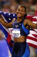 【2000シドニー五輪】陸上女子100メートルでマリオン・ジョーンズ(米国)が優勝=岩下幸一郎撮影