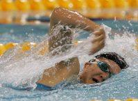 【2004アテネパラリンピック】競泳で七つの金メダルを獲得した成田真由美=武市公孝撮影