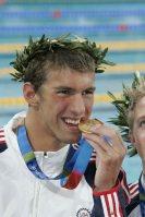 【2004アテネ五輪】競泳で6個の金メダルと2個の銅メダルを獲得したマイケル・フェルプス(米国)=小関勉撮影