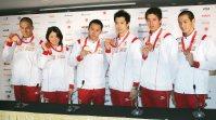 【2008北京五輪】競泳男子400メートルメドレーリレーは日本は銅メダル。同200メートルバタフライで松田丈志が銅、女子200メートル背泳ぎで中村礼子も銅メダルを獲得した=佐々木順一撮影
