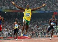 【2008北京五輪】ウサイン・ボルト(ジャマイカ)が陸上男子100メートルを9秒69、200メートルを19秒30でともに世界新で金メダル=梅村直承撮影