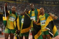 【2008北京五輪】男子400メートルリレーでジャマイカが世界新で金メダル。ウサイン・ボルトの金三つすべてが世界新だった=山本晋撮影
