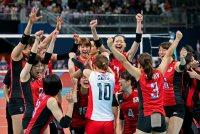 【2012ロンドン五輪】バレーボール女子3位決定戦はストレートで韓国を破り銅メダルを獲得した=佐々木順一撮影