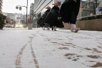 Snow covers the ground in Chuo Ward, Fukuoka, on Jan. 24, 2016. (Mainichi)