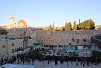 エルサレム旧市街にある「嘆きの壁」(写真正面)。ユダヤ教の聖地で、例年1000万人が訪れる。黄金に輝く「岩のドーム」(同左上)のある一角はイスラム教徒の聖域だ=エルサレム旧市街中心部で2016年1月6日、大治朋子撮影