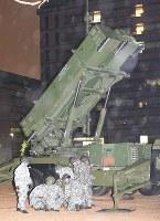 防衛省内に配備されたPAC3=東京都新宿区の防衛省で2016年1月29日午後、喜屋武真之介撮影