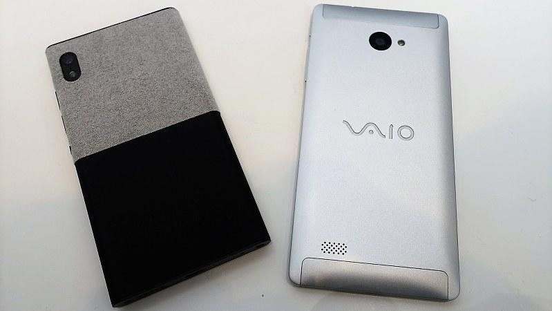 ウィンドウズ10モバイルを搭載している「ニュアンス ネオ」(左)と「バイオ フォーン ビズ」