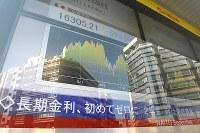 長期金利が初めて0%になったことを示すボード=東京都中央区日本橋で2016年2月9日午前10時53分、竹内紀臣撮影