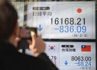 日経平均株価が前日比で800円以上下落したことを示すボード=東京都中央区日本橋で2016年2月9日午後0時4分、竹内紀臣撮影