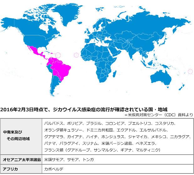 上記日時現在の「流行地」を示しており、過去の流行発生地は含まれていない。またCDCは、ジカウイルスは現在も拡散を続けており、今後どのような広がり方をするか見極めることは難しいとしている(一部の小さな国・地域は地図上の3カ所の円内にあります)
