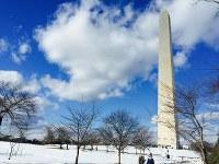 ワシントン中心部の小高い丘に建つ「ワシントン記念塔」=2016年1月29日、清水憲司撮影