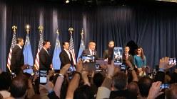 ネバダ州党員集会で圧勝し、勝利宣言するトランプ氏=2016年2月23日、長野宏美撮影
