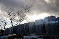 構内に並ぶ汚染水などが入ったタンク=福島第1原発で2016年1月25日、小川昌宏撮影