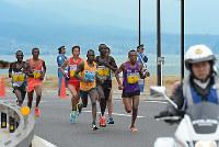 琵琶湖付近を走る選手たち=2016年3月6日午後、山崎一輝撮影