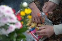 岩手県山田町船越の小谷鳥地区の墓で、一緒に住んでいた妻と娘、3人の孫を亡くした佐藤力男さん(62)(右の手)は親族と墓を訪れ、孫たちのために持ってきたたくさんの菓子を袋から出した。同地区では18人が津波で亡くなり、見つかっていない人が多い=岩手県山田町で2016年3月11日午前10時50分、和田大典撮影