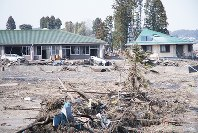 A care home for the aged in Minamisoma, Fukushima Prefecture, which was devastated after being engulfed by tsunami, is pictured in this photo taken on April 13, 2011. (Photo courtesy of Fukushima Prefectural Police)