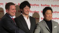 バズフィード日本版の記者発表会に登壇した創刊編集長の古田大輔氏(中央)
