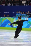 Takahiko Kozuka is seen during free skating where he pulled off a quadruple jump, at Pacific Coliseum on Feb. 18, 2010. (Mainichi)