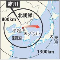弾道ミサイルが発射された粛川