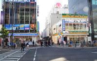 岡山県内の商業地で最高価格地点となった岡山市北区本町2の1付近、原田悠自撮影