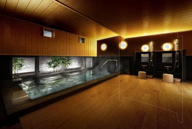 分譲中のルネ蘇我ディアパーク(千葉市中央区)のサウナ付き大浴場。利用料は1戸あたり月額1000円だ