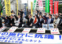 Participants in a demonstration held in Karashima Park in the city of Kumamoto's Chuo Ward are seen chanting for the abolishment of security legislation on March 29, 2016. (Mainichi)