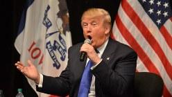 米大統領選・共和党候補の指名争いでトップをひた走るドナルド・トランプ氏=2016年1月30日、西田進一郎撮影