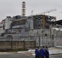 老朽化が目立つチェルノブイリ原発4号機=チェルノブイリ(ウクライナ北部)で2016年2月10日、真野森作撮影