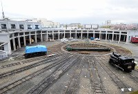A fan-shaped plaza and service shed that will house 20 steam locomotives when completed is pictured at the Kyoto Railway Museum in Kyoto's Shimogyo Ward, on April 1, 2016. (Mainichi)