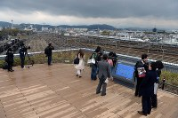 The Sky Terrace at the Kyoto Railway Museum in Kyoto's Shimogyo Ward, which offers views of the JR Kyoto Line, the Sagano Line and the Tokaido Shinkansen line, is seen on April 1, 2016. (Mainichi)