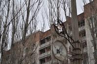 1986年に事故が起きたチェルノブイリ原発に隣接する人工都市プリピャチの廃虚。電柱にはソ連時代の飾りが残っている。約5万人が暮らす豊かな「原発城下町」だったが、事故後はゴーストタウンになった=プリピャチ(ウクライナ北部)で2016年2月10日、真野森作撮影