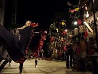 「花舞」。子供たちが持つ花柳に襲いかかる2頭の獅子。つるした飾り「さる」(猿や野菜、俵をかたどったもの)を食いに来る=松本成さん撮影