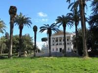 ローマ中心部のトルロニア公園に入ると、やしの木の間からムソリーニの元私邸「貴族の館」が見える