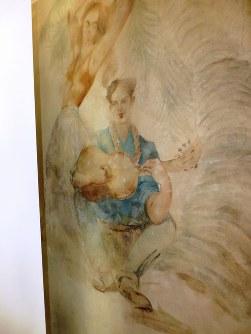 「貴族の館」の壁には駐留米兵が手慰みで描いた淡彩画が残っている