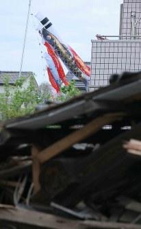 瓦礫の上を泳ぐ鯉のぼり=熊本県益城町で2016年4月16日午後2時35分、宮武祐希撮影