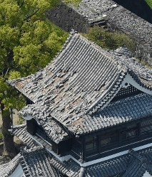 地震で天守閣の屋根瓦と石垣が崩れた熊本城=熊本市中央区で2016年4月15日午前11時16分、本社ヘリから幾島健太郎撮影