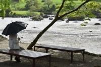 水が干上がり底があらわになった水前寺成趣園の池。夜は近所の避難所で生活する70歳の女性は「片付けに追われるのに疲れて来てみたが、ずっと見てきた光景が変わってしまって残念。早く元の姿に戻ってほしい」と話していた=熊本市中央区で2016年4月26日午前9時33分、須賀川理撮影