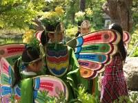 幕あいに「胡蝶の夢」を見る。出番を待ちきれない子供たちは、楽屋に使っている和館の間でおとなしくしてくれない=松本成さん撮影