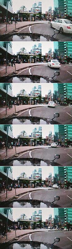 (写真上から)西進する白い乗用車が停車中のタクシーの横を通り過ぎて歩道に乗り上げ、スピードを落とさないまま、信号を渡ろうとしていた歩行者を次々にはねた。乗用車はさらに赤信号を無視して県道交差点に向かった=タクシーの車載カメラから