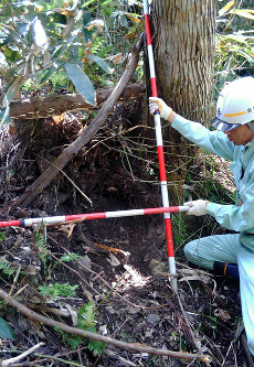 県道から高さ約30メートルで確認された、落下した石があったとみられるくぼみ=島根県道路維持課提供