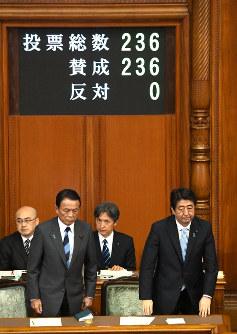 参院本会議で熊本地震対策の2016年度補正予算が全会一致で可決、成立し、立ち上がって一礼する安倍晋三首相(前列右)と麻生太郎副総理兼財務相(同左)=国会内で2016年5月17日午後5時45分、藤井太郎撮影
