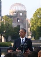 U.S. President Barack Obama delivers a speech before A-bomb survivors and others at Hiroshima Peace Memorial Park, on May 27, 2016. (Pool photo)