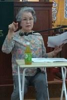 横浜大空襲の体験を語る千島洋子さん=横浜市中区で