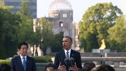 原爆ドームを背に演説するオバマ米大統領=2016年5月27日撮影