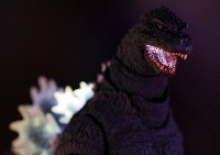 A Godzilla figure with an illuminated mouth and dorsal fin is seen displayed at the 2016 International Tokyo Toy Show on June 9, 2016, in Tokyo's Koto Ward. (Mainichi)
