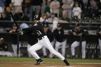 【マリナーズ・レンジャース】一回の第1打席で左前打を放ち、年間最多安打記録に到達したイチロー=シアトルのセーフコフィールドで2004年10月01日、竹内幹撮影