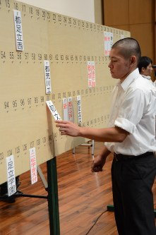 抽選で引いた番号に自校の札を掛ける選手=渋谷区の青山学院講堂で
