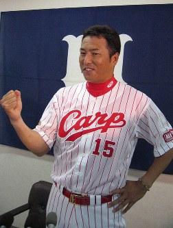 球宴での活躍を誓う広島・黒田博樹投手=広島市民球場で2007年7月2日撮影