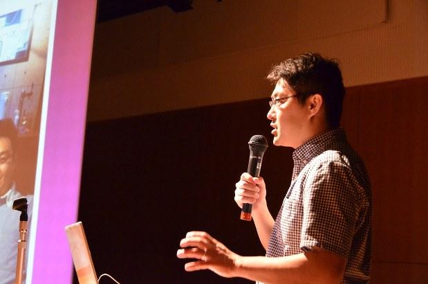 代表理事を務めるNPOの活動報告をする藤田さん=さいたま市で6月19日