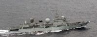 尖閣諸島の南方を航行した中国海軍の情報収集艦=沖縄県・尖閣諸島付近で防衛省提供